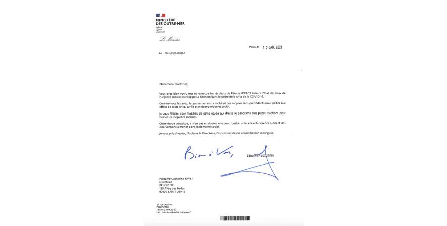 Read more about the article Etude IMPACT : félicitations de Sébastien LECORNU, Ministre des Outre-mer